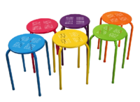 Power Coated All Steel Mixed Colours Stool (Red,Blue,Orange, Yel