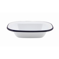 Rectangular Pie Dish Enamel White With Blue Edge 16x12x3.5cm