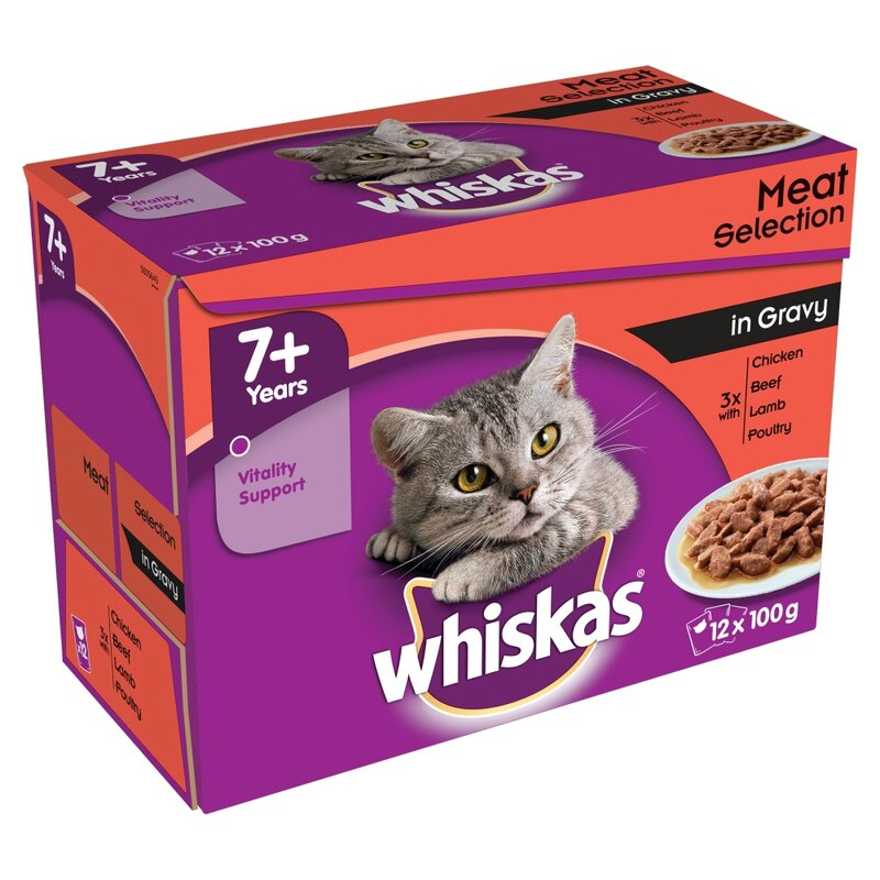 Whiskas 7+ Meat Selection in Gravy 4 x 12 x 100g