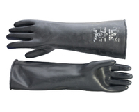 "Black Rubber Gauntlet Glove Medium Weight 17"" (43cm) (Pair)"