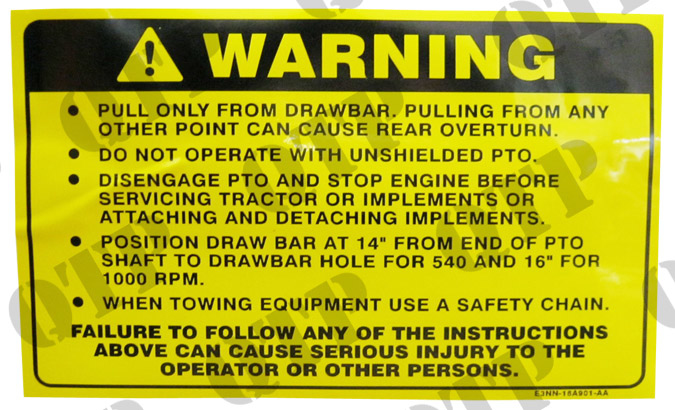 Tractor Pto Warning Decals : Warning decal tw quality tractor parts ltd