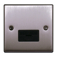 FEP Low Profile Satin Chrome 13A Fused Spur Black Insert Chrome Switch | LV0801.0015
