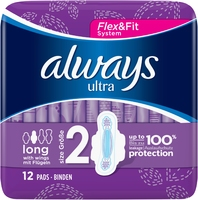 Always Ultra Long Sanitary Towels With Wings Size 2 12s