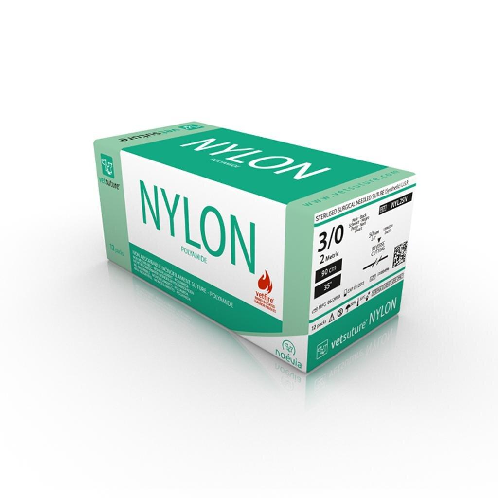 Vetsuture NYLON 3/0 (2 Metric), 50mm Straight Rev Cut, 90cm Length (12)