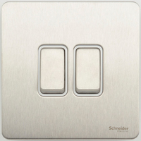 Schneider Ultimate Screwless 2Gang 2way Switch Stainless Steel white|LV0701.0908