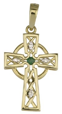 14K DIAMOND EMERALD CELTIC CROSS CHARM