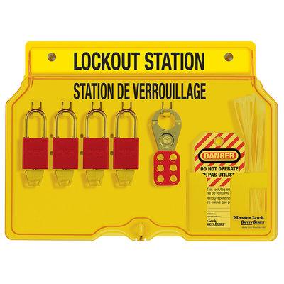 Master Lock 4-lock padlock station, english/french, anodized aluminum padlocks