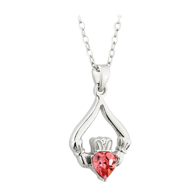 RHODIUM PLATED CLADDAGH BIRTHSTONE - OCTOBER(BOXED)