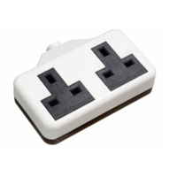 13A RUBBER TWIN EXTENSION SOCKET