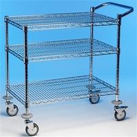 Utility Trolley 3 Tier 1000x500x960mm 2 Braked Wheels