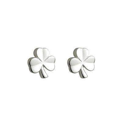 sterling silver kids shamrock stud earrings s33197 from Solvar