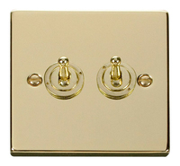 Click Deco Victorian Polised Brass 2Gang 2 Way Toggle Switch   LV0101.1825