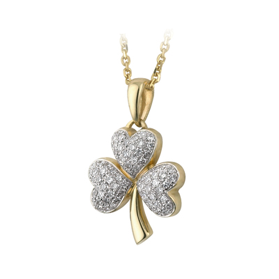 14K MICRO DIAMOND SHAMROCK PENDANT(BOXED)