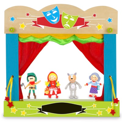 Little Red Riding Hood Finger Puppet Set being used with a finger puppet theatre