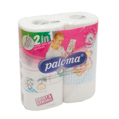 Kitchen Roll White, 3 ply decorated, 2pk