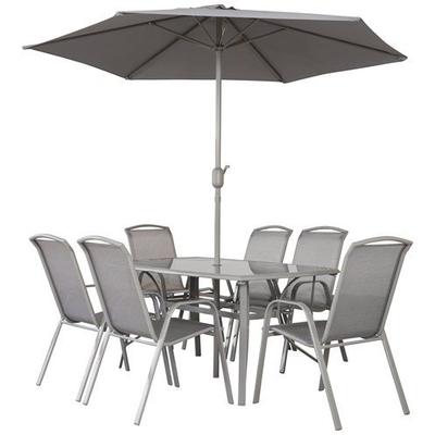 Napoli 1.5M 6 Seater Rectangular Set + Parasol