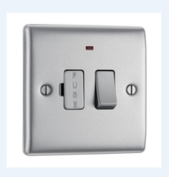 NEXUS BRUSHED STEEL 13A FUSED CONNECTION UNIT SWITCHED WITH NEON