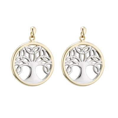 14K TWO TONE TREE OF LIFE DROP EARRINGS