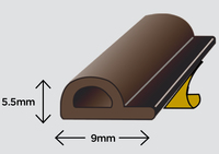 Exitex Self Adhesive P Strip Brown 5 Metre