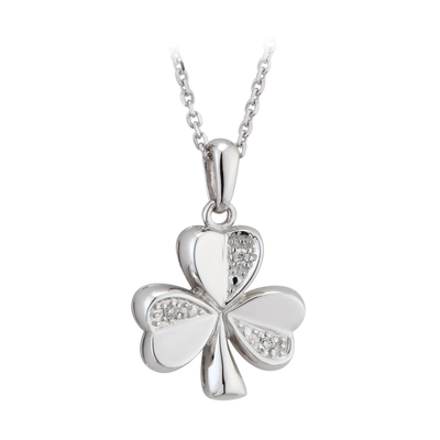14K WHITE DIAMOND SHAMROCK PENDANT