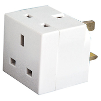 2 Way UK Mains Adapter Plug