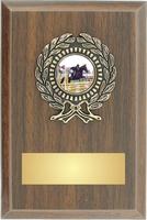 10cm Walnut Plaque , Black/Gold Trim (V202)