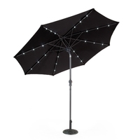 Market 2.7m Aluminium Solar Powered Bluetooth Speaker LED Black Parasol