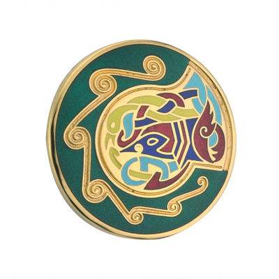 GP GREEN SMALL ROUND BROOCH(BOXED)