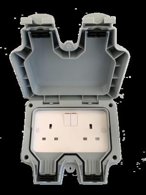 outdoor twin socket ip65 2 gang