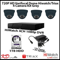 4 Camera CCTV 720p Varifocal Dome Kit - Grey