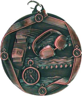 60mm Swimming Medallion (Antique Bronze)