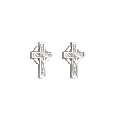 RHODIUM PLATED PEARL CROSS STUD EARRINGS (BOXED)
