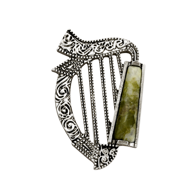RHODIUM PLATED CONNEMARA MARBLE HARP BROOCH