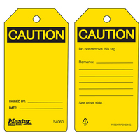 Master Lock Yellow caution blank - safety tag