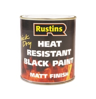 RUSTINS QUICK DRYING HEAT RESIST BLACK PAINT 250ML 220C