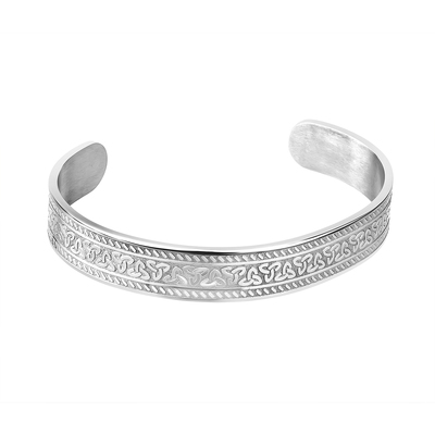 STEEL ENGRAVED TRINITY CELTIC CUFF BANGLE