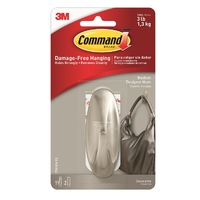 Command Designer Medium Hook Brushed Nickel 17081BN-ES
