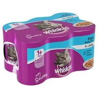 Whiskas 1+ Adult Cat Cans - Fish Selection in Jelly 6pk x 4