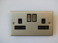 13A 2 Gang SP Switched Socket INGOT Satin Chrome