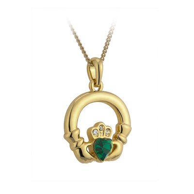 GOLD PLATED  GREEN CRYSTAL HEART CLADDAGH PENDANT