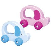 Wooden push & roll toddler toy - blue/pink elephant