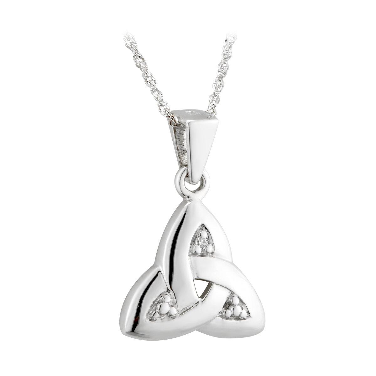 14k white gold diamond trinity knot pendant s4718 from Solvar