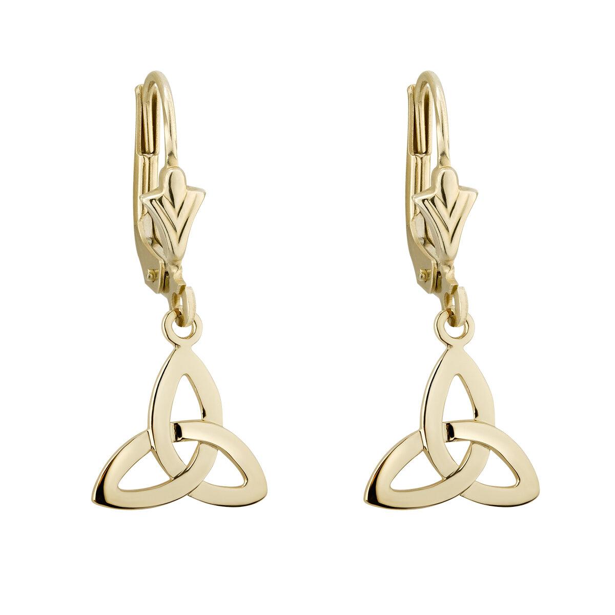 14k gold trinity knot drop earrings s3734 from Solvar