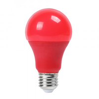 9W A60 LED Red Colour Plastic Bulb E27