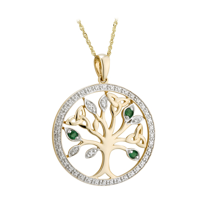 14K DIAMOND & EMERALD TREE OF LIFE PENDANT