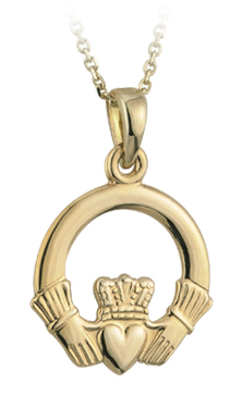 9K MEDIUM CLADDAGH PENDANT