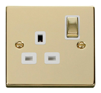 Click Deco Victorian Polished Brass with White Insert Single switched Socket | LV0101.0156