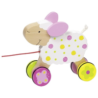 Wooden sheep pull along toy for toddlers
