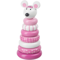wooden stacking toy - pink mouse
