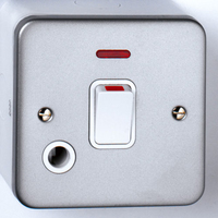 20A DP Metal Clad Switch + Neon + Outlet